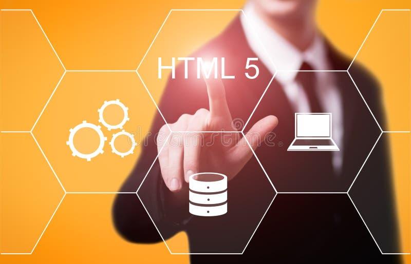 Concept de codage de développement de Web de langage de programmation de HTML images stock