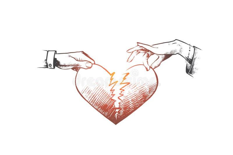 Concept de coeur cassé Vecteur d'isolement tiré par la main illustration stock