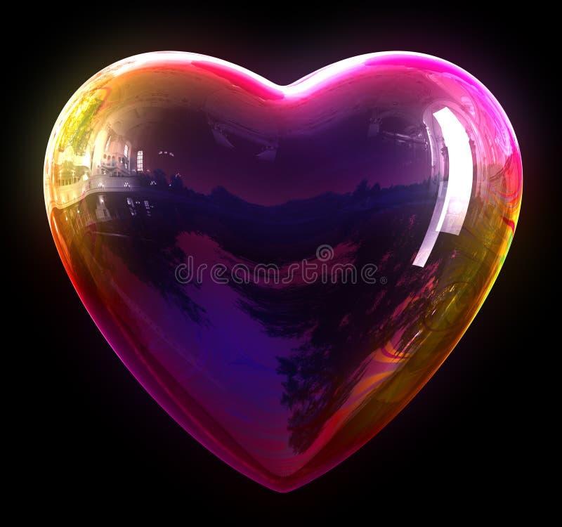 Concept de coeur de bulle de savon illustration de vecteur