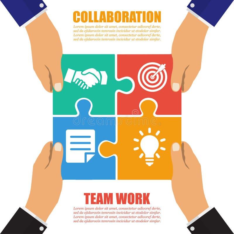 Concept de collaboration Coopération, travail d'équipe Puzzle réussi de solution Symbole d'association Vecteur, conception plate illustration libre de droits