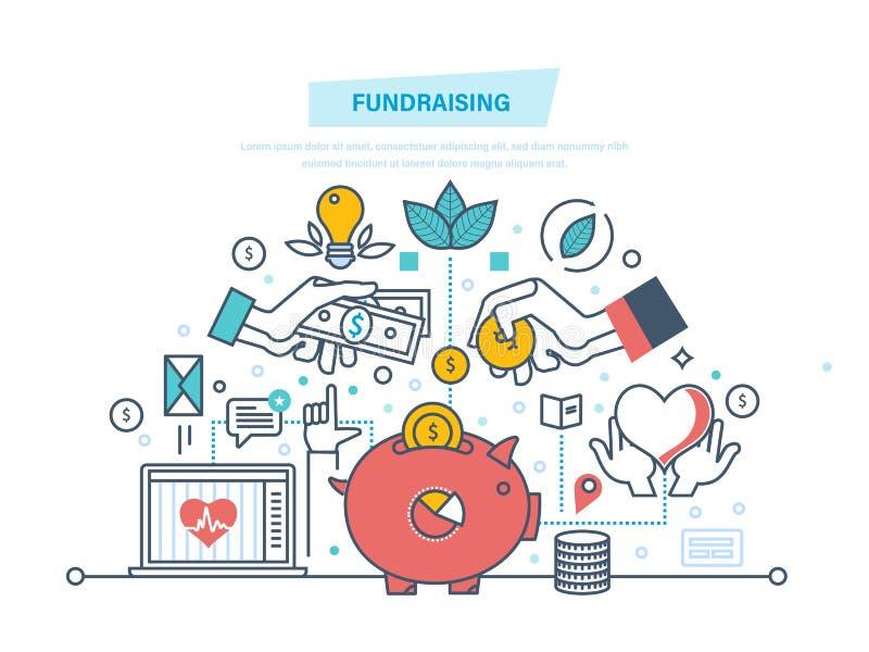 Concept de collecte de fonds Événement de collecte de fonds, centre volontaire Donation sous la forme de coeur illustration stock