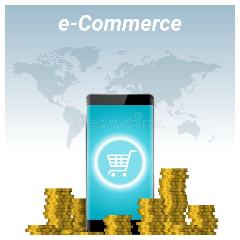 Concept de commerce électronique avec des piles de fond d'or de pièce de monnaie et de smartphone illustration libre de droits