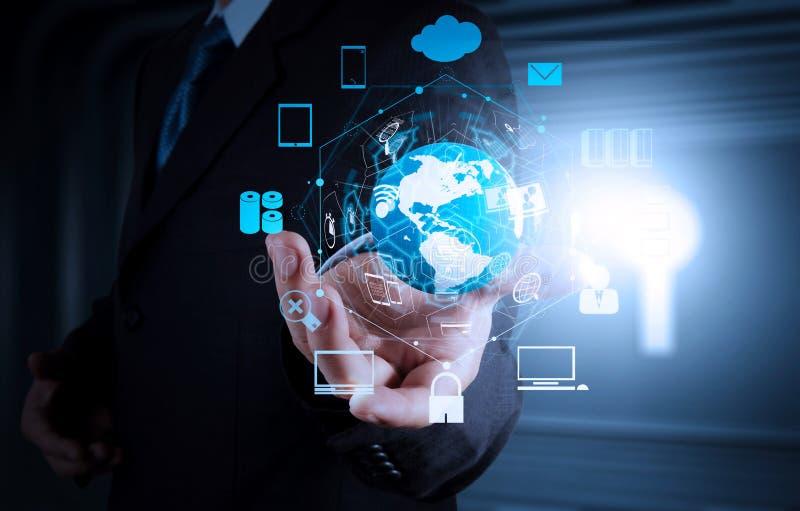 Concept de commerce électronique avec l'interface numérique de VR avec des icônes de shopp images stock