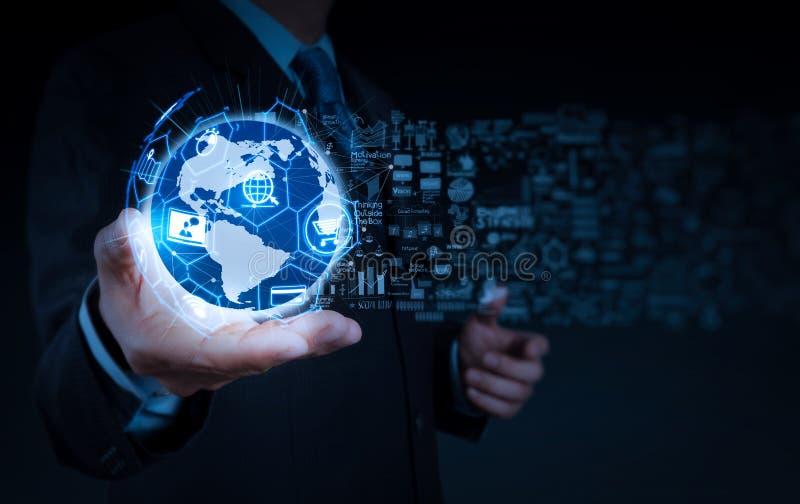 Concept de commerce électronique avec l'interface numérique de VR avec des icônes de shopp photos libres de droits