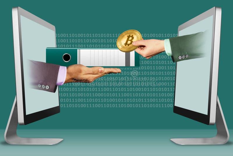 Concept de commerce électronique, deux mains des ordinateurs portables dossier et main avec le bitcoin illustration 3D illustration de vecteur