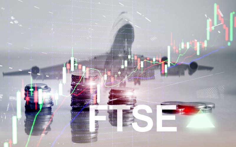 Concept de commerce d'investissement du Royaume-Uni R-U Angleterre d'index de bourse des valeurs de FTSE 100 Financial Times avec illustration stock