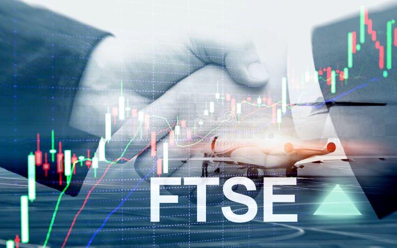 Concept de commerce d'investissement du Royaume-Uni R-U Angleterre d'index de bourse des valeurs de FTSE 100 Financial Times avec image libre de droits