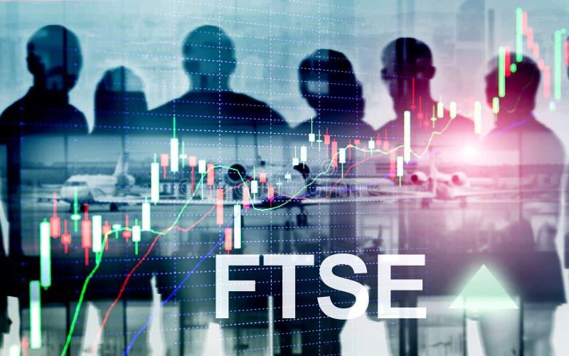 Concept de commerce d'investissement du Royaume-Uni R-U Angleterre d'index de bourse des valeurs de FTSE 100 Financial Times avec images libres de droits