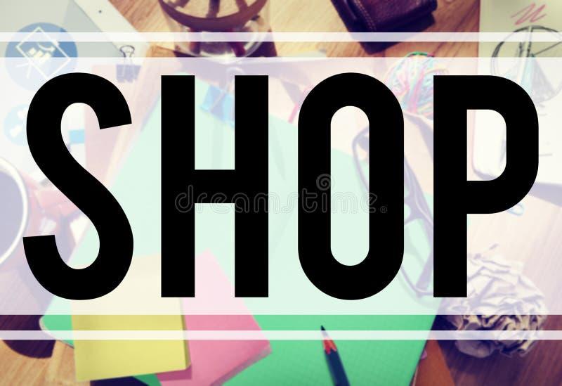 Concept de commerce de vente de département d'achats de boutique images libres de droits