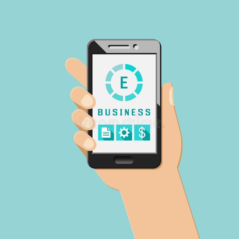Concept de commerce en ligne avec le smartphone illustration libre de droits