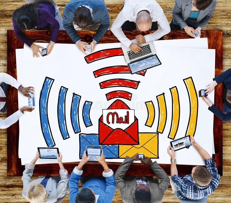 Concept de communication de lettre de boîte de réception de message électronique photo stock