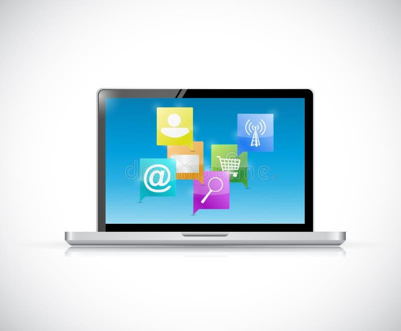 Concept de communication de réseau Internet d'ordinateur portable illustration libre de droits