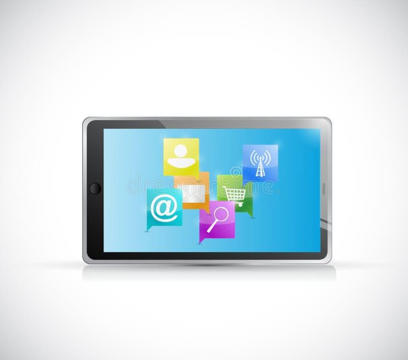 Concept de communication de réseau Internet de Tablette illustration stock