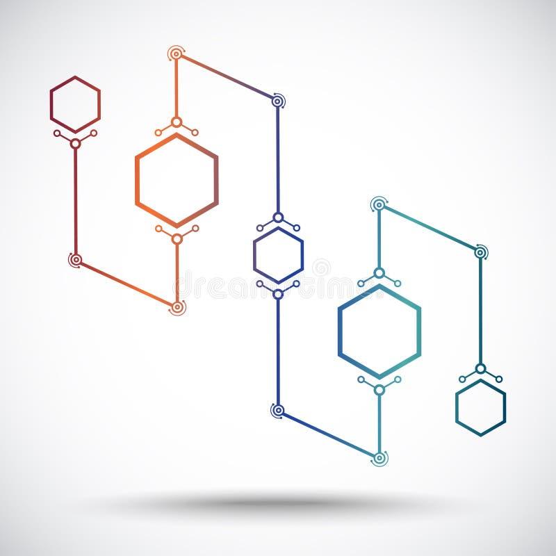 Concept de communication des cinq cellules illustration de vecteur
