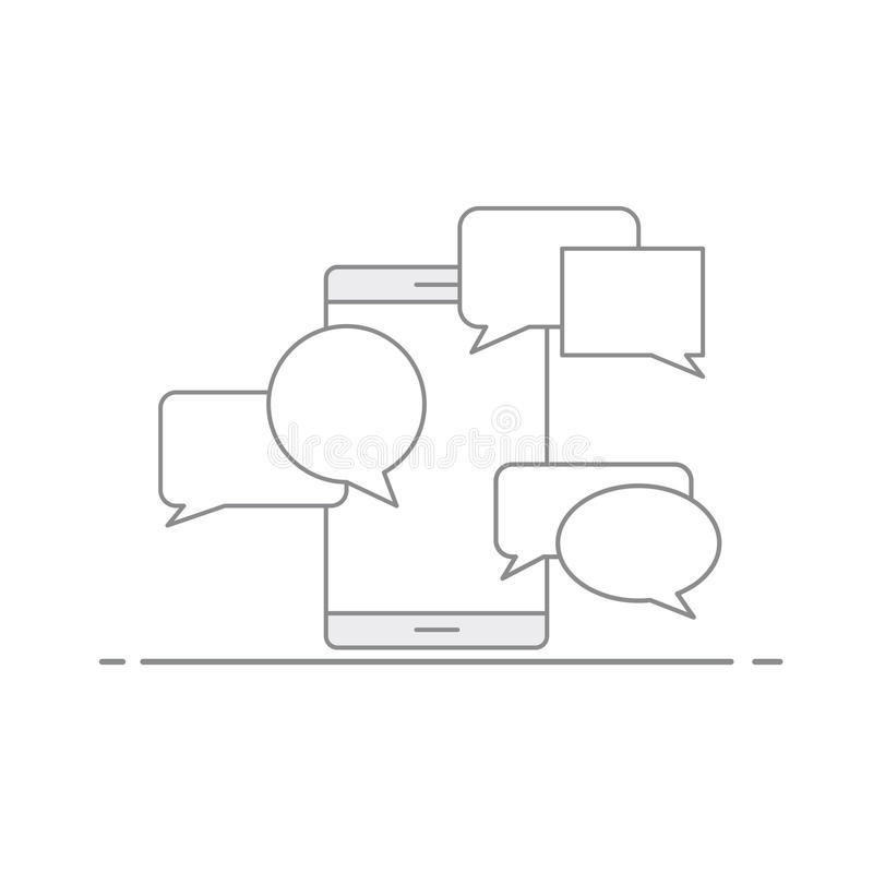 Concept de communication par l'intermédiaire de SMS et d'email sur un périphérique mobile Bulle de la parole sur le fond de votre illustration de vecteur