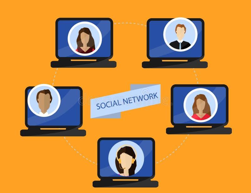 Concept de communication sociale de réseaux et d'Internet Illustration plate illustration de vecteur
