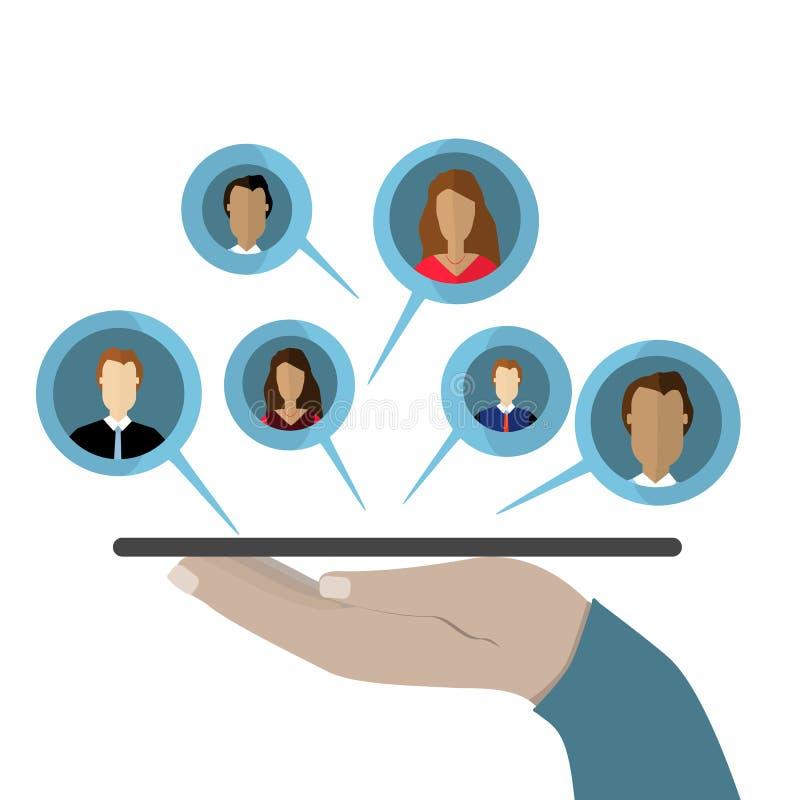 Concept de communication sociale de réseaux et d'Internet La main contient des données de comprimé et de part sur le nuage Illust illustration de vecteur
