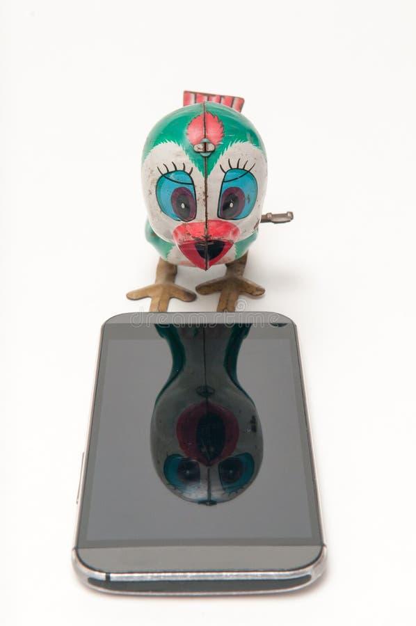 Concept de communications avec des jouets de vintage image stock