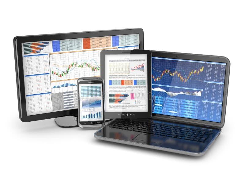 Concept de communications d'affaires. Ordinateur portable, PC de comprimé et téléphone. illustration stock