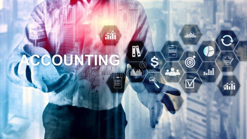 Concept de comptabilité, d'affaires et de finances sur l'écran virtuel photo libre de droits