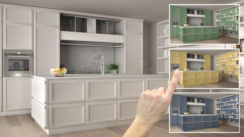 Concept de concepteur d'architecte, main montrant des couleurs lumineuses classiques de cuisine dans différentes options, ébauche illustration libre de droits
