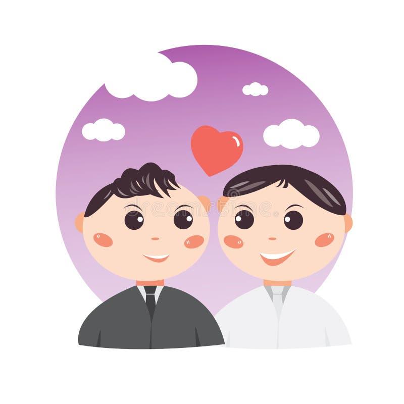 Concept de conception de personnages de mariage de bande dessinée de couples, doux et romantique gai mignon, illustration stock