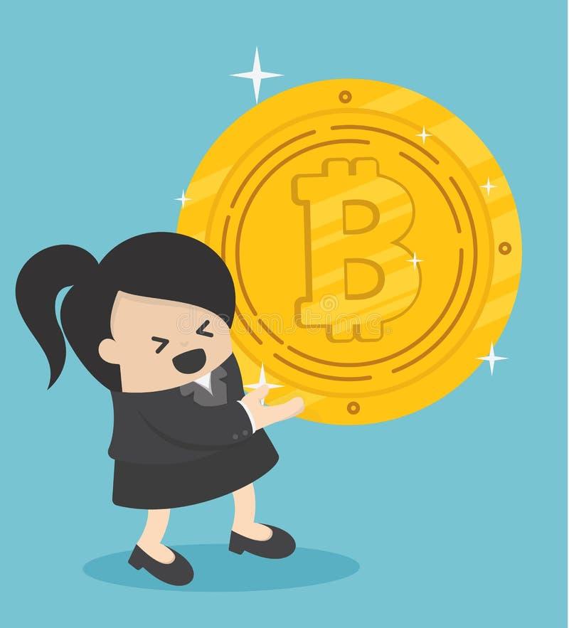 Concept de concurrentie Gouden muntstuk op achtergrond bedrijfs vrouw royalty-vrije illustratie