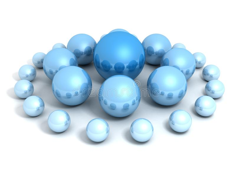 Concept de conduite avec les sphères bleues grandes et petites illustration de vecteur