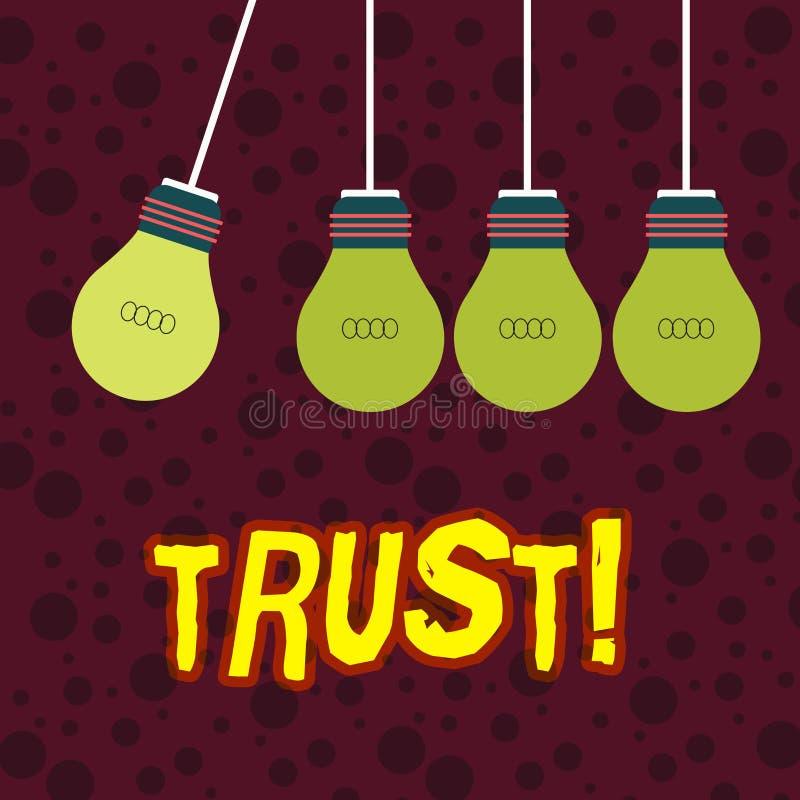 Concept de confiance d'écriture des textes d'écriture signifiant la croyance dans la confiance de capacité de vérité de fiabilité illustration libre de droits