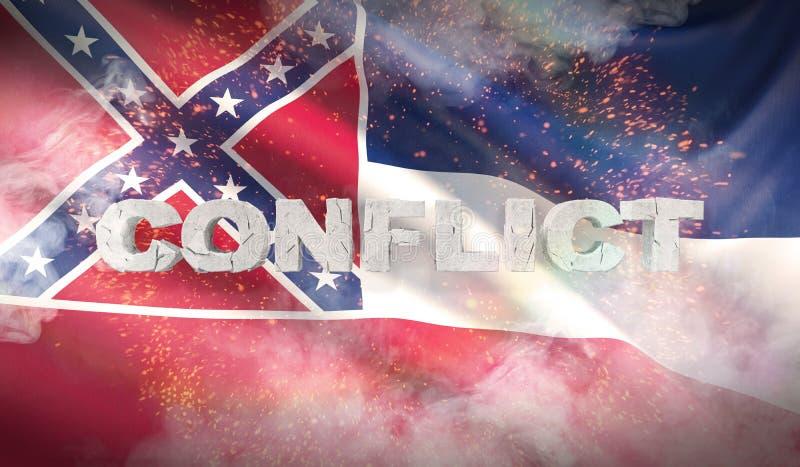 Concept de conflit État de drapeau de Mississippi pays des pavillons Etats-Unis illustration 3D illustration stock