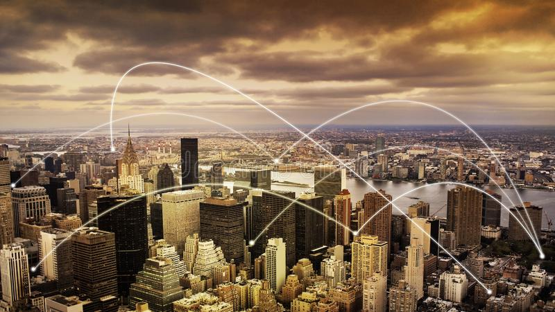 Concept de connectivité de New York City photo stock
