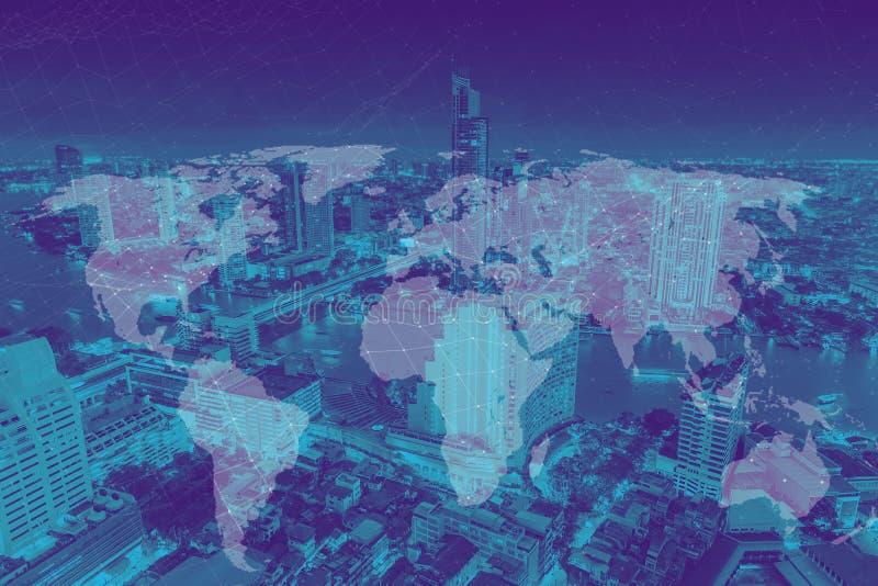 Concept de connexion du monde et de développement de métro de ville photos libres de droits
