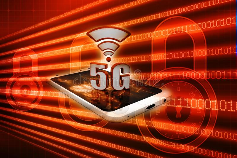 concept de connexion internet 5G à l'arrière-plan numérique 3d rendent illustration libre de droits