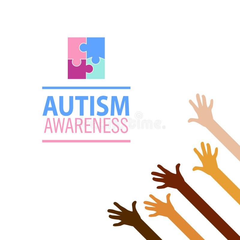 Concept de conscience d'autisme avec les mains humaines Emblème fait à partir des morceaux de puzzle et des couleurs d'autisme illustration libre de droits