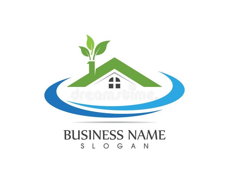 Concept de construction à la maison de logo de nature de bâtiment illustration de vecteur