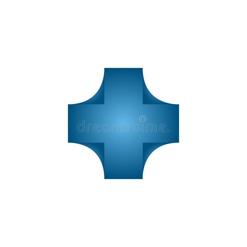 Concept de construction abstrait de logo de croix de soins de santé illustration libre de droits