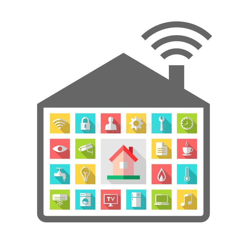 Concept de construction automatisé avec les icônes relatives illustration stock