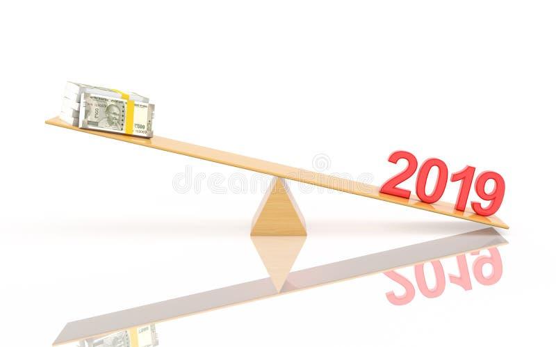 Concept de construction créatif de la nouvelle année 2019 - 3D a rendu l'image illustration stock