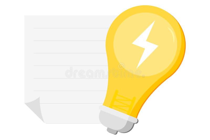 Concept de construction d'idée avec briller l'endroit d'ampoule, de bouton, de titre et de textes Approprié à la bannière de Web, illustration stock