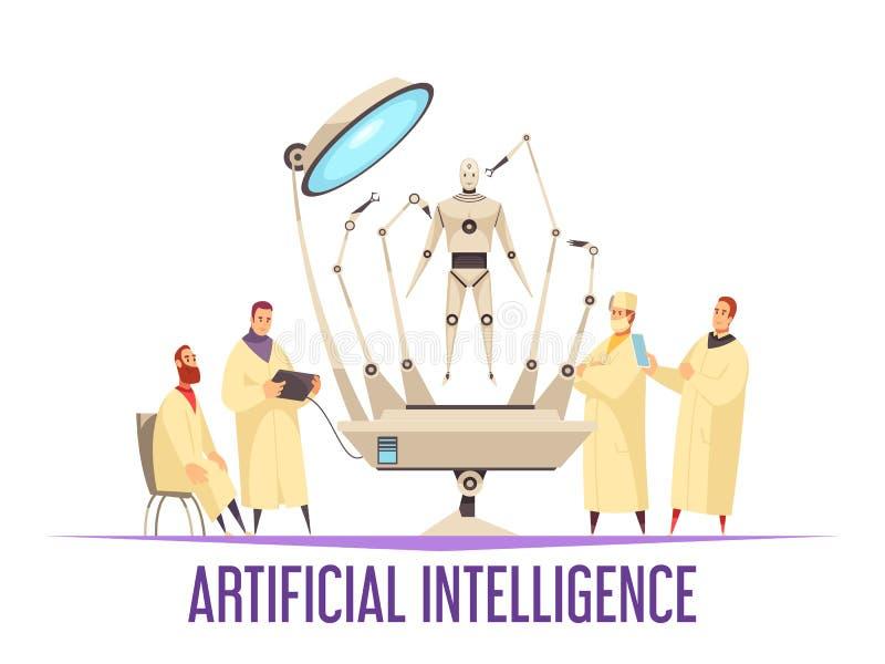 Concept de construction d'intelligence artificielle illustration libre de droits