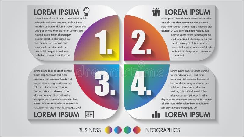 Concept de construction d'options de l'illustration 4 de vecteur d'infographics d'affaires multicolore avec l'icône Calibre pour  illustration stock