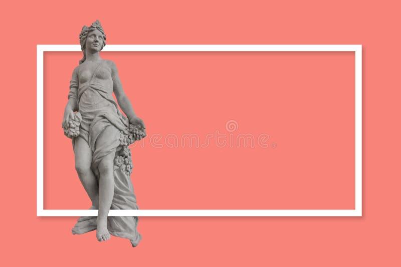 Concept de construction d'une bannière ou d'une copie pour la campagne de publicité Statue générique de femme dans style grec/rom illustration libre de droits