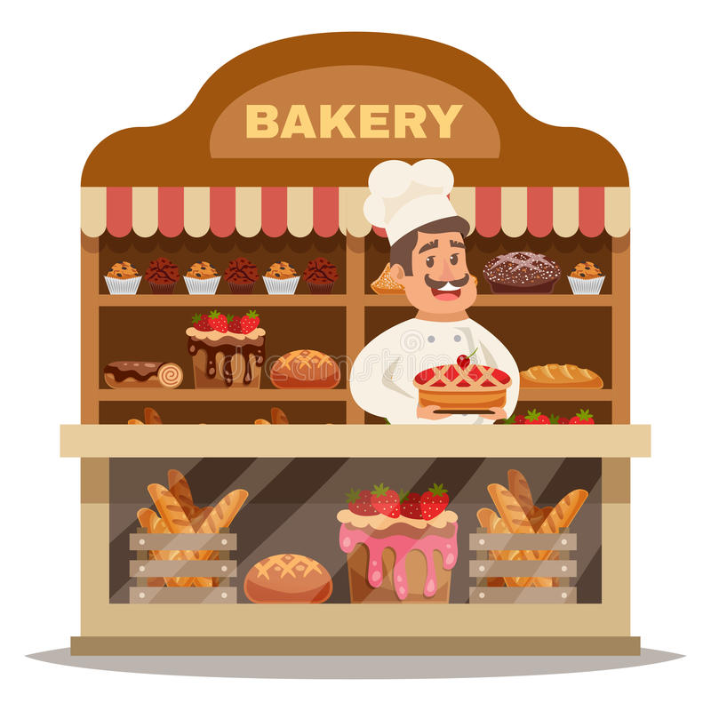 Concept de construction de boutique de boulangerie illustration libre de droits