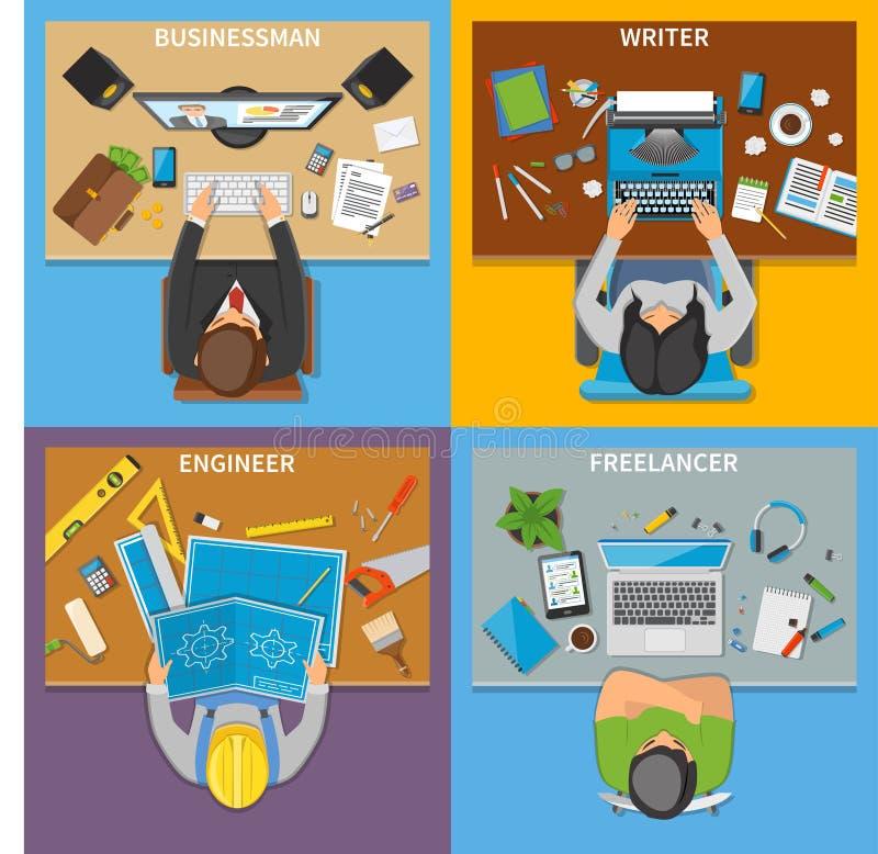Concept de construction de la vue supérieure 2x2 de professions illustration libre de droits