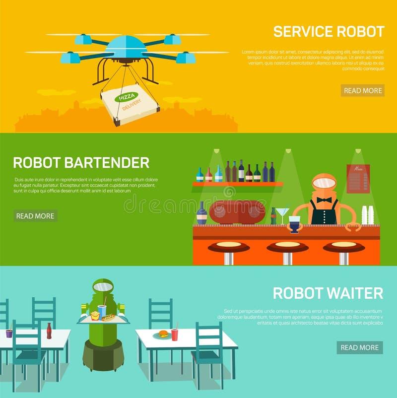 Concept de construction de robots réglé avec le robot de service illustration stock