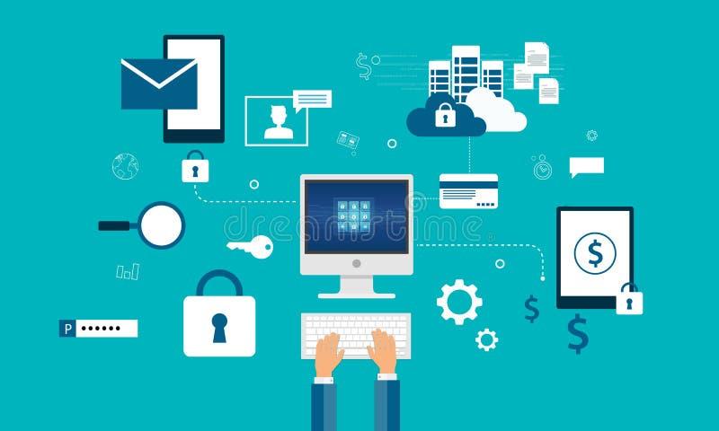 Concept de construction de sécurité de cyber d'Internet de technologie illustration stock