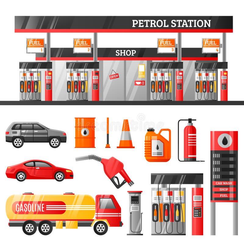 Concept de construction de station-service illustration de vecteur