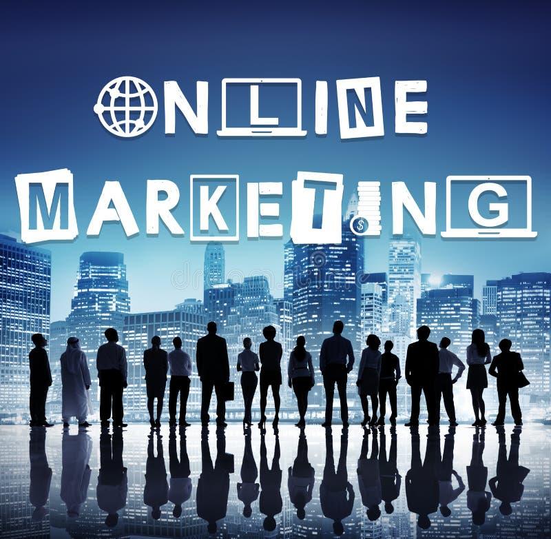 Concept de construction de Word de graphiques de marketing en ligne photos libres de droits