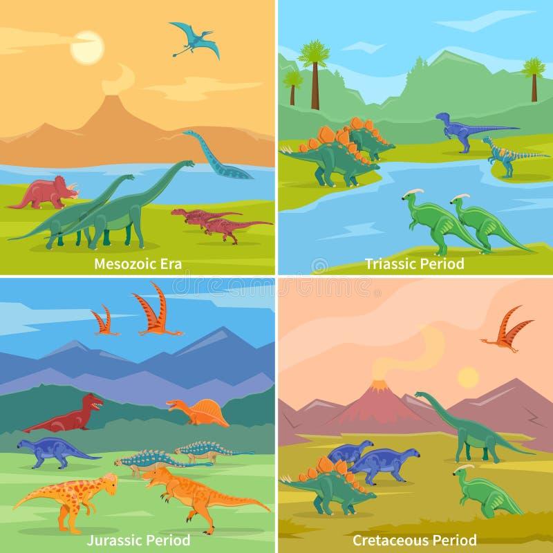 Concept de construction des dinosaures 2x2 illustration stock