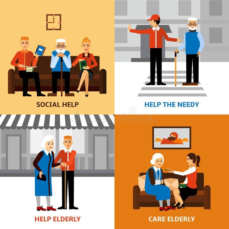 Concept de construction des personnes 2x2 de volontaires illustration libre de droits